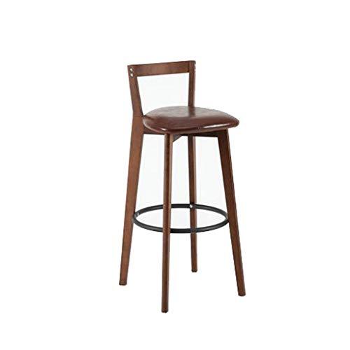 NEVY Barhocker Hocker Barhocker Stuhl Rezeption Stuhl Hochstuhl Massivholz Eisen Barhocker Haushalt Cafe (Farbe : Braun)