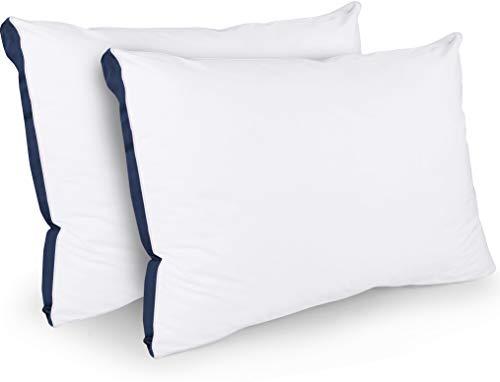 Utopia Bedding Cuscini Letto (Set di 2) - 45 x 66 cm Guanciali Letto Coppia - Tessuto Misto Cotone con Morbida Fibra di Poliestere 3D - Traspirante (Blu Navy)