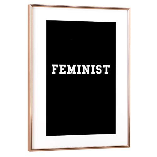 artboxONE Poster mit Rahmen Kupfer 30x20 cm Feminist Black von Vegan Feminist - gerahmtes Poster