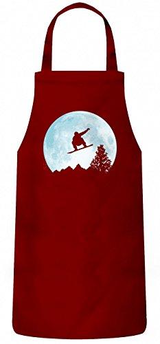 Shirt Happenz Snowboard Vor Dem Mond Schürze | Wintersport | Snowboarden | Schnee | Kochen & Backen | Grillschürze, Farbe:Rot (Red PW102);Größe:60cm x 87cm