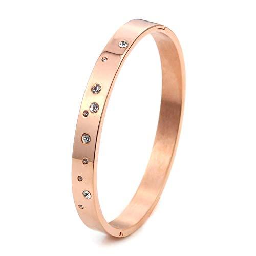 MEINLY STERNE | Modernes & Elegantes Armreif Armband hergestellt aus hochwertigem 316L Chirurgenstahl vergoldet mit 18K Gold in Rosé-Gold für Frauen Damen Mädchen (Roségold)