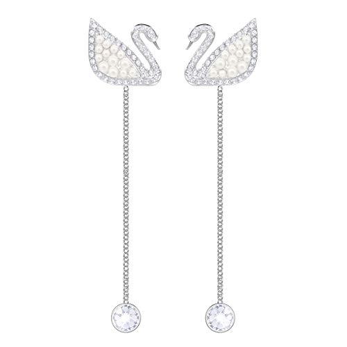 Swarovski Iconic Swan Ohrringe für Frauen, weißes Kristall, rhodiniert