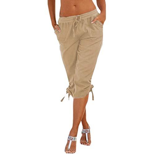 Damen Elastische Hohe Taille Lose Tasche Hose Yogogo Einfarbig Pants Sommer Yoga Leggings Knielänge Yogahose Sexy Druck Hosen Lange...