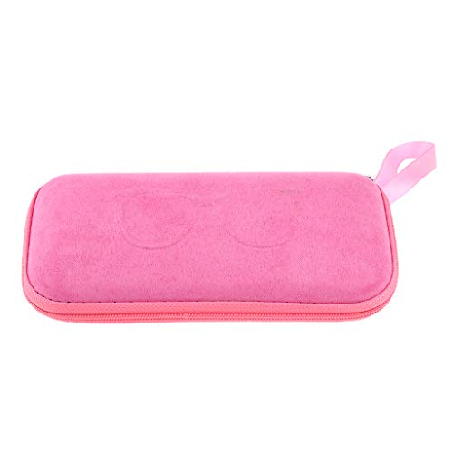 Pack of 2 Eyeglasses Spectacles Case Zipper Eyewear Sunglasses Box Pouch Suit for Various Glasses - Pink, 16 x 7 x 4 cm