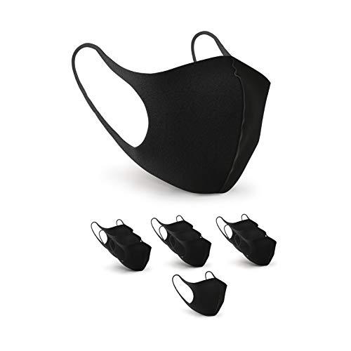 BartZart EIS Seide Fashion Masken schwarz I Unisex waschbare und Wiederverwendbare Masken (10 Stück)