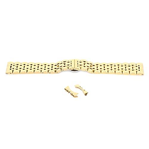 Correa de reloj de acero inoxidable de 21 mm con curva para mujeres y hombres, correa de reloj de repuesto cómoda ajustable con cierre de mariposa