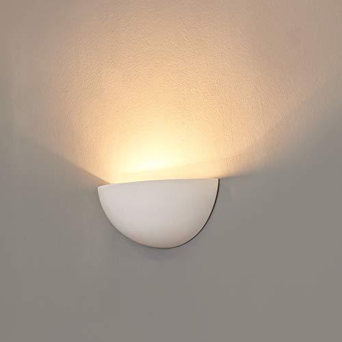Applique murale Plâtre Marion Intensité variable Lampe murale demi-lune blanc E14 Lampe Coque Up Light recouvrable