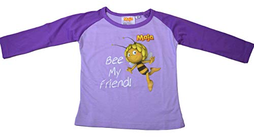 Biene Maja T-Shirt Langarm Lila Violett Gr. 104 Kinder t Shirt Shirt lang kinderkleidung Peter maffay Shirt Biene Maja Tshirt t Shirt Hannibal Fritz Freunde Hieronymus