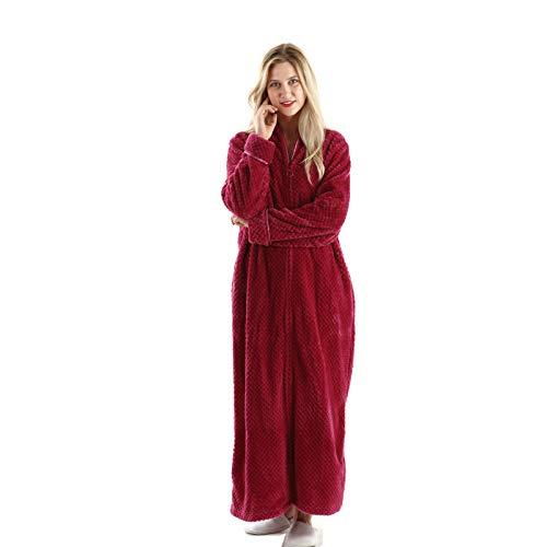 Womens Fleece Warm Robe,Cozy Fluffy Long Bathrobe,Plush Night Dressing Robes for Women