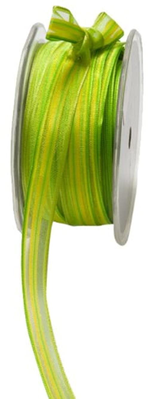 May Arts 1/2-Inch Wide Ribbon, Parrot Green and Yellow Stripes