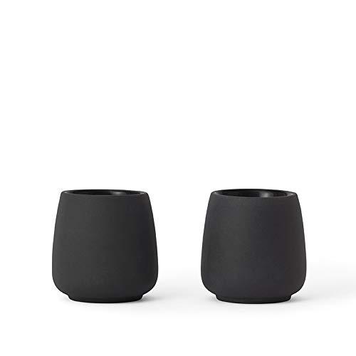 VIVA scandinavia Teetassen Porzellan 2er Set Weiß: Design Tee oder Kaffee Becher, 0,08 L, geschirrspüler geeignet, matt anthrazit