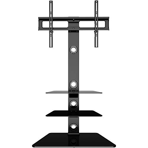 BONTEC TV Floor Stand with 3 Tempered Glass Shelves for...
