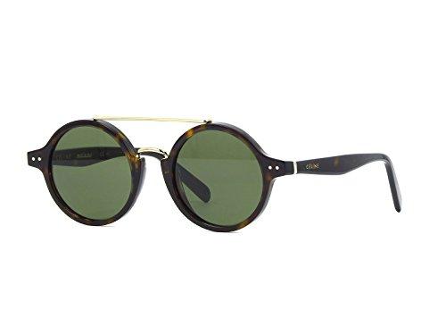 Céline 86 471E Gafas de Sol, Dark Havana/Green, 47 para Mujer