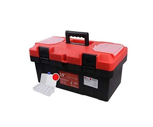Geeignet for Haushalt Außen-Reparatur-Werkzeug-Aufbewahrungsbehälter, Zwei-Schicht-rote starke PP Multi-Funktions-Toolbox 19 Zoll (Farbe: Rot, Größe: 44.5 * 24 * 19,5 cm) HAOSHUAI