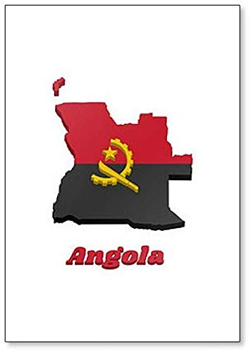 Kühlschrankmagnet, Motiv Karte & Flagge von Angola