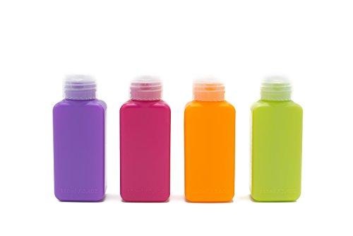 Travel Bottles, Travel Size Bottles For Journey, Small Travel Bottle, Empty Travel Size Containers, 2oz Flip Bottles Travel Containers, Squeezable Tubes For Liquids, TSA Approved (Multi-Color-4 Pack)