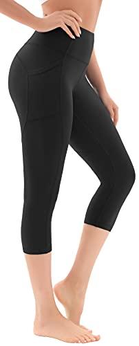 Persit Sport Leggings Damen 3/4, High Waist Sporthose Yoga Sport Capri Leggins Hose für Damen Schwarz-XXL