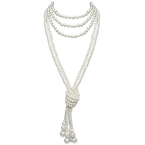 1920s Accessories Pearls Necklace Faux Pearls Gatsby Accessories Costume Jewelry Flapper Accessories Roaring 20s Long Necklace for Women