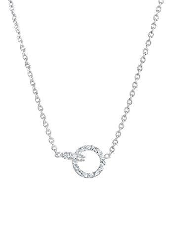 Elli Collares Colgante para mujer con círculo y cristales de plata esterlina 925 bañada en oro