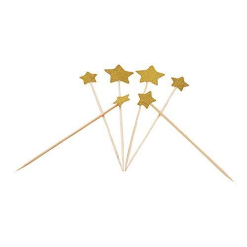 YiYour - Decoración para cupcakes con forma de corazón para cupcakes, sándwiches, aperitivos, estrellas doradas