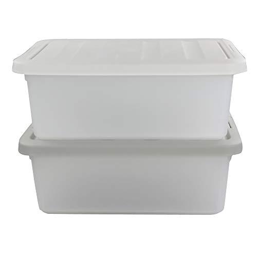 Sandmovie 15 Liter Lagerboxen Aufbewahrungsbox Stapelboxen Plastik mit Deckel, Grau und Weiß, 2 Packung
