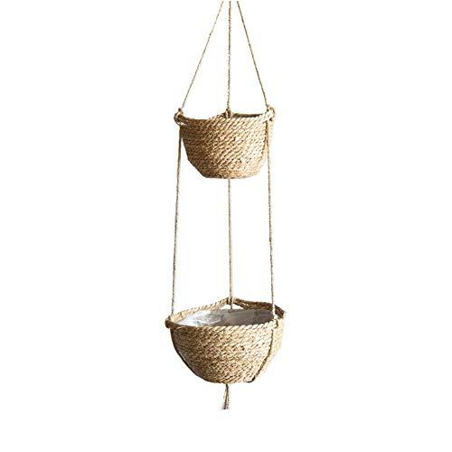knowledgi 2 Tier Plant Hanger, Hanging Planter Indoor/Outdoor,Wall Hanging Plant Holders,Double Plant Hanger Home Decor