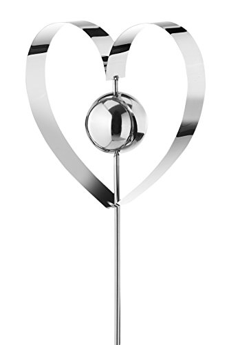 Kobolo Gartenstecker Dekostecker Heart aus Edelstahl Silber 127 cm