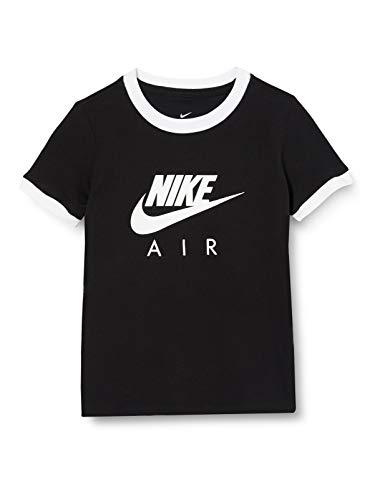 NIKE G NSW tee Air Logo Ringer Camiseta de Manga Corta, Niñas, Black/White, L