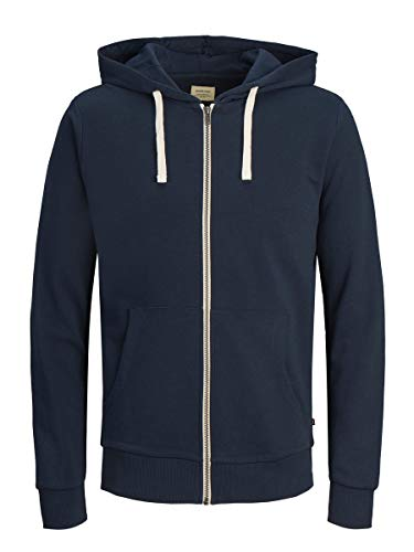 JACK & JONES Jjeholmen Sweat Zip Hood Noos Felpa, Blu (Navy Blazer Fit: Reg Fit), Large Uomo