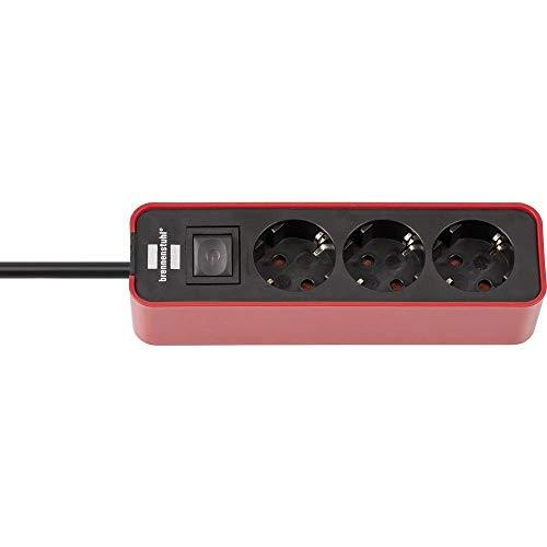 Brennenstuhl Ecolor Steckdosenleiste 3-fach (Steckerleiste mit Schalter und 1,5m Kabel) rot/schwarz