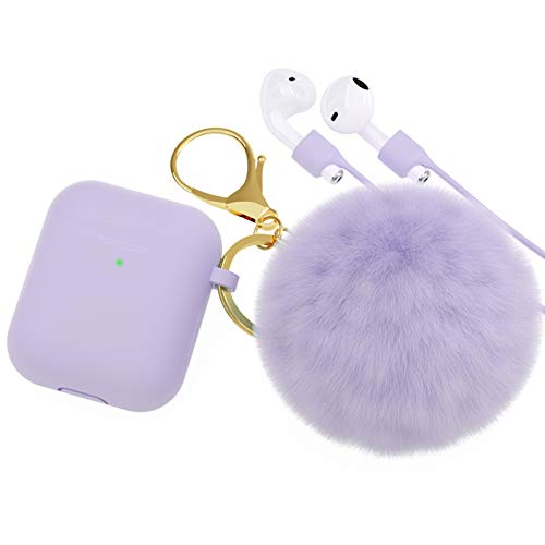 BRG for AirPods Case,Soft Cute Silicone Cover for Apple Airpods 2 & 1 Cases with Pom Pom Fur Ball Keychain/Strap/Accessories for Women Girls (Front LED Visible) Purple