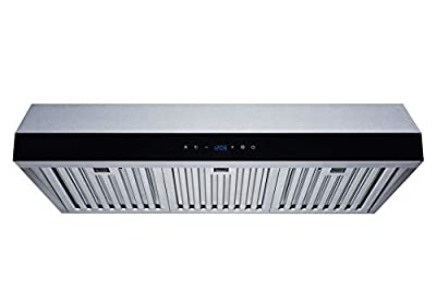 Winflo 30 In. 500 CFM Convertible Stainless Steel Under Cabinet Range Hood with Baffle Filters and Touch Sensor Control