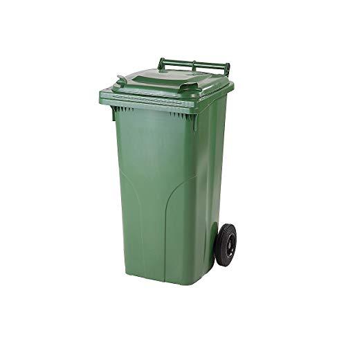 Certeo Kunststoff-Mülltonne | Volumen 120 l | Grün | Mülltonne Abfalltonne Wertstofftonne Müllgroßbehälter Müllbehälter
