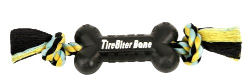 TireBiters Medium Chew Toy Bone with Rope, Black, 11-Inch