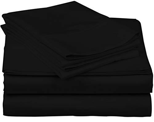 True Luxury 1000-Thread-Count 100% Egyptian Cotton Bed Sheets, 4-Pc King Black Sheet Set, Single Ply Long-Staple Yarns, Sateen Weave, Fits Mattress Upto 18 Deep Pocket