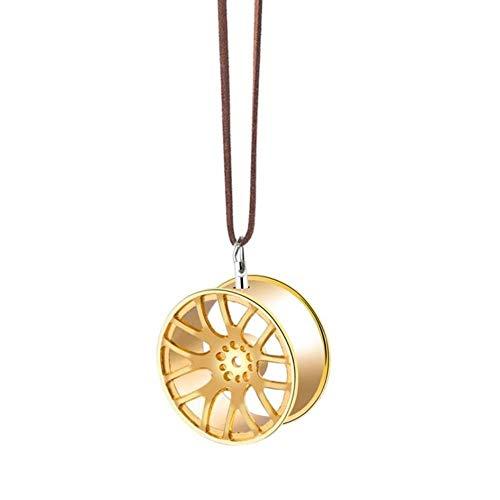 niawmwdt Auto Ornament Anhänger Metall Radnabe Schwungrad hängen Auto Interieur Hiphop Rückspiegel Dekoration Dangle Trim Zubehör, Gold