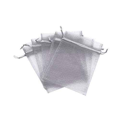 Evershine, 144Pcs Sheer Organza Pouch, Gift Wrap, Wedding Party favor gift bag. (Silver, 5' x 7')