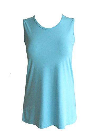 Chalou Camiseta sin mangas Liso para mujer Azul turquesa 46
