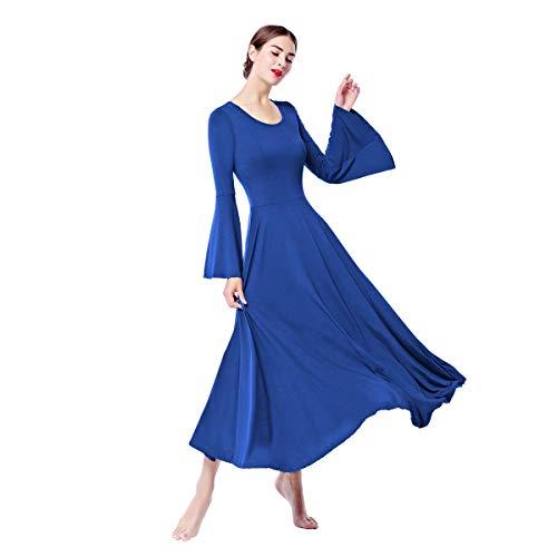 IBTOM CASTLE Vestito Donna Liturgico Manica Lunga Asimmetrico Abito da Balletto Ginnastica Classico Danza Combinazione Dance Costume Cerimonia Tunica Vestire Reale M