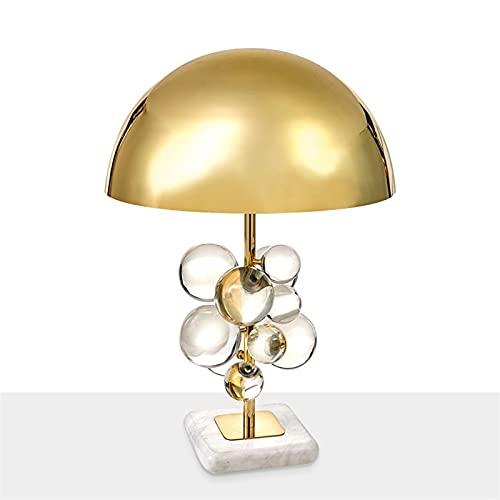 Lámpara de mesa de bola de cristal moderna Lámparas de mesa de setas doradas Decoración Lámpara de cabecera para el hogar Lámpara decorativa Lámpara de escritorio para sala Incluye bombilla