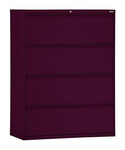 "Sandusky Lee LF8F304-03 800 Series 4 Drawer Lateral File Cabinet, 19.25"" Depth x 53.25"" Height x 30"" Width, Burgundy"