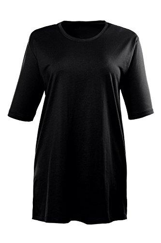 Ulla Popken T-Shirt, Rundhals, T-Shirt Col Ras Du Cou Manches Courtes Femme, Noir, 44/46 (Taille fabricant: 42/44)