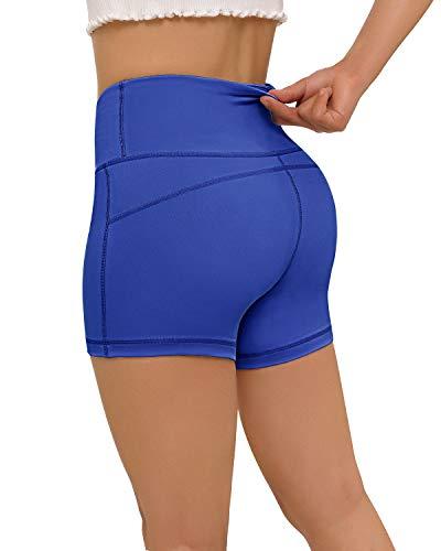 Pantalones cortos Fafair para mujer, deportivos, con control de barriga, pantalones cortos para correr con bolsillos, pantalones cortos de yoga, color azul real, tamaño M