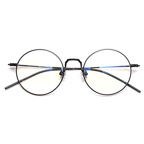 DOLLGERブルーライトカットメガネ PCメガネ 85%ブルーライトカット 丸い眼鏡 15g超軽量 透明レンズ ラウンド 男女兼用(ブラック)