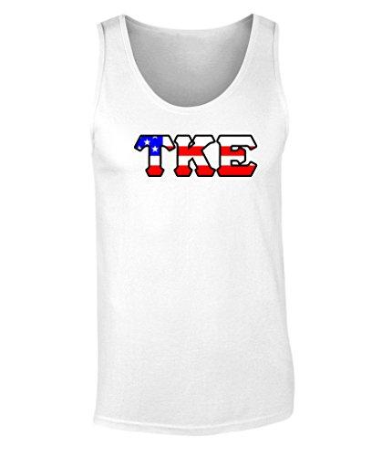 CALIFORNIA BLACK PLATE Tau Kappa Epsilon American Flag Tank Top White 2XL