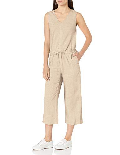 Amazon Essentials Sleeveless Linen Jumpsuit Overall, Natürlich, 40-42