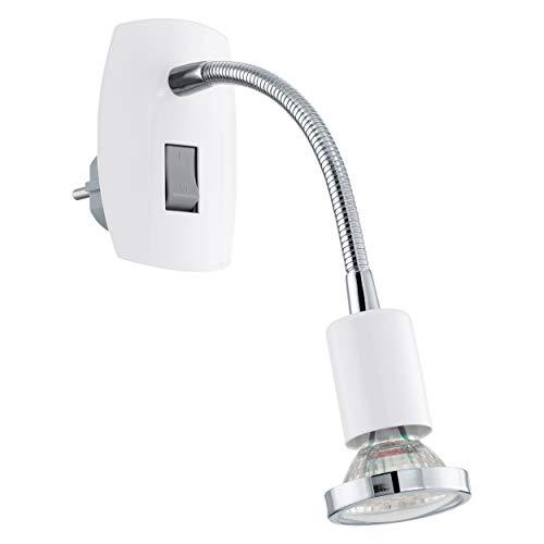 EGLO Steckdosenspot Mini, 1 flammige Steckerleuchte, Steckdosenlampe aus Stahl, Farbe: weiß, chrom, Fassung: GU10, inkl. Schalter und Flexarm