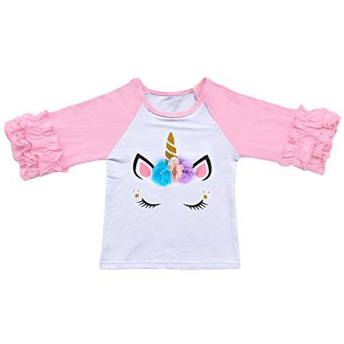 Baby Toddler Girl Unicorn Icing Ruffle Raglan Shirts Flower Tee Top Christmas Halloween Casual Fancy Costume Clothes Unicorn Pink 18-24 Months