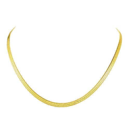 FindChic 3MM Flat Snake Gold Chain Choker Jewellery for Women Hypoallergenic Stainless Steel Herringbone Necklace Gold