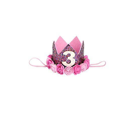 Xiton 1pc Säuglings-Baby-3-Geburtstags-Party-Hut Prinzessin Hair Zarte Rosen-Blumen-Haar-Zusatz-Kronen-Party-Hüte Bunte ArtA